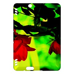 Red Roses And Bright Green 2 Kindle Fire Hdx Hardshell Case by timelessartoncanvas