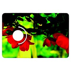 Red Roses And Bright Green 2 Kindle Fire Hdx Flip 360 Case by timelessartoncanvas