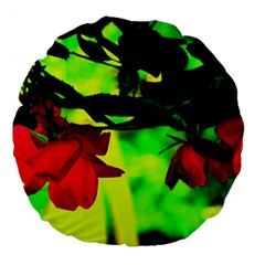 Red Roses And Bright Green 2 Large 18  Premium Flano Round Cushions by timelessartoncanvas