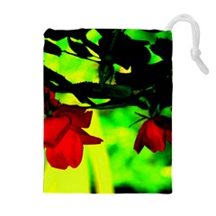 Red Roses And Bright Green 2 Drawstring Pouches (extra Large) by timelessartoncanvas