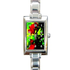Red Roses And Bright Green 3 Rectangle Italian Charm Watch by timelessartoncanvas