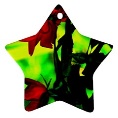 Red Roses And Bright Green 3 Ornament (star)  by timelessartoncanvas