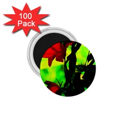 Red Roses And Bright Green 3 1 75  Magnets (100 Pack)  by timelessartoncanvas