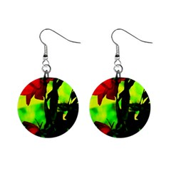 Red Roses And Bright Green 3 Mini Button Earrings by timelessartoncanvas