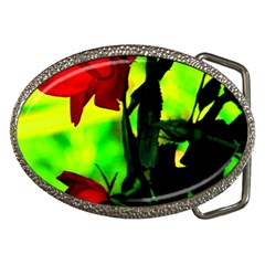 Red Roses And Bright Green 3 Belt Buckles by timelessartoncanvas