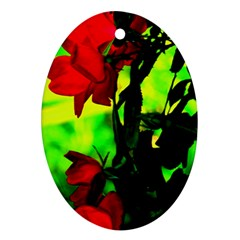 Red Roses And Bright Green 3 Oval Ornament (two Sides) by timelessartoncanvas