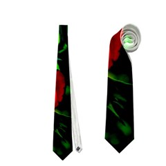 Red Roses And Bright Green 3 Neckties (one Side)