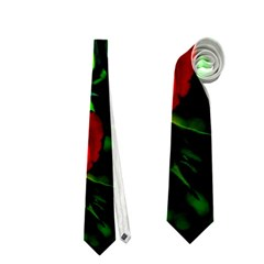 Red Roses And Bright Green 3 Neckties (two Side)