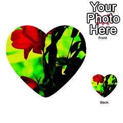 Red Roses And Bright Green 3 Multi Purpose Cards (heart)
