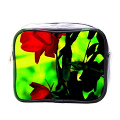 Red Roses And Bright Green 3 Mini Toiletries Bags by timelessartoncanvas