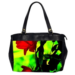 Red Roses And Bright Green 3 Office Handbags (2 Sides)  by timelessartoncanvas