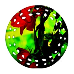 Red Roses And Bright Green 3 Ornament (round Filigree)  by timelessartoncanvas