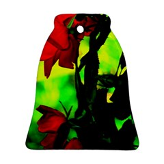 Red Roses And Bright Green 3 Bell Ornament (2 Sides) by timelessartoncanvas