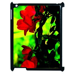 Red Roses And Bright Green 3 Apple Ipad 2 Case (black) by timelessartoncanvas