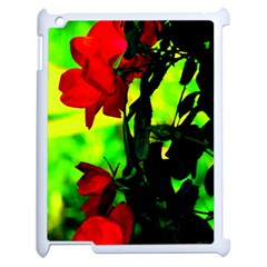 Red Roses And Bright Green 3 Apple Ipad 2 Case (white) by timelessartoncanvas