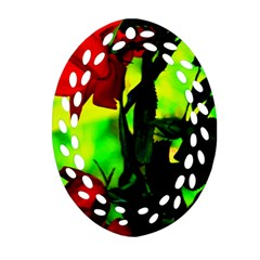Red Roses And Bright Green 3 Ornament (oval Filigree)  by timelessartoncanvas