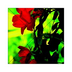 Red Roses And Bright Green 3 Acrylic Tangram Puzzle (6  X 6 ) by timelessartoncanvas