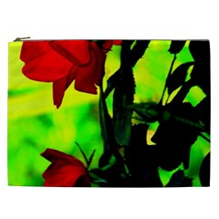 Red Roses And Bright Green 3 Cosmetic Bag (xxl)  by timelessartoncanvas