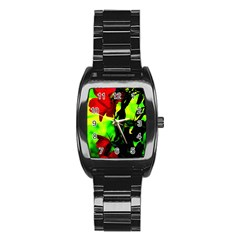 Red Roses And Bright Green 3 Stainless Steel Barrel Watch by timelessartoncanvas