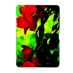 Red Roses And Bright Green 3 Samsung Galaxy Tab 2 (10 1 ) P5100 Hardshell Case  by timelessartoncanvas