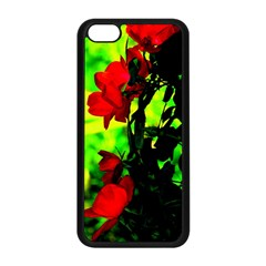 Red Roses And Bright Green 3 Apple Iphone 5c Seamless Case (black) by timelessartoncanvas