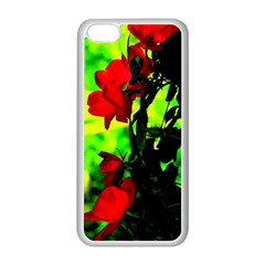 Red Roses And Bright Green 3 Apple Iphone 5c Seamless Case (white) by timelessartoncanvas