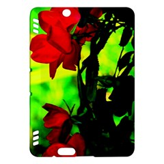 Red Roses And Bright Green 3 Kindle Fire Hdx Hardshell Case by timelessartoncanvas