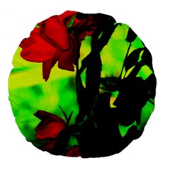 Red Roses And Bright Green 3 Large 18  Premium Flano Round Cushions by timelessartoncanvas