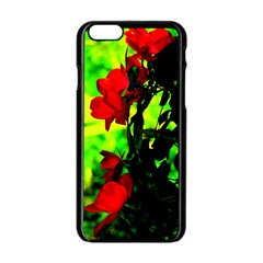 Red Roses And Bright Green 3 Apple Iphone 6/6s Black Enamel Case by timelessartoncanvas