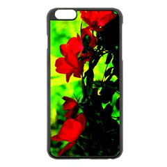 Red Roses And Bright Green 3 Apple Iphone 6 Plus/6s Plus Black Enamel Case by timelessartoncanvas