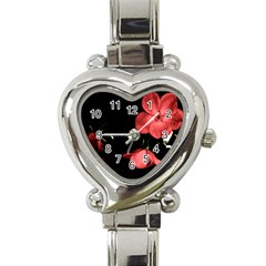 Mauve Roses 1 Heart Italian Charm Watch by timelessartoncanvas