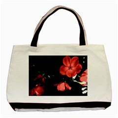 Mauve Roses 1 Basic Tote Bag by timelessartoncanvas