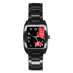 Mauve Roses 1 Stainless Steel Barrel Watch by timelessartoncanvas