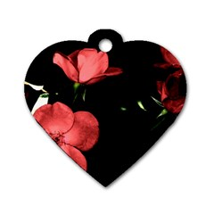 Mauve Roses 2 Dog Tag Heart (two Sides) by timelessartoncanvas
