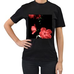 Mauve Roses 3 Women s T Shirt (black) (two Sided) by timelessartoncanvas