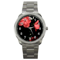 Mauve Roses 4 Sport Metal Watch by timelessartoncanvas