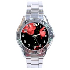 Mauve Roses 4 Stainless Steel Analogue Watch by timelessartoncanvas