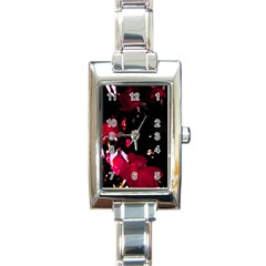 Pink Roses Rectangle Italian Charm Watch by timelessartoncanvas