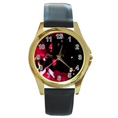 Pink Roses Round Gold Metal Watch by timelessartoncanvas