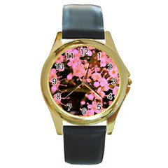 Little Mauve Flowers Round Gold Metal Watch by timelessartoncanvas