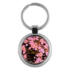 Little Mauve Flowers Key Chains (round)  by timelessartoncanvas