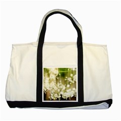 Little White Flowers Two Tone Tote Bag by timelessartoncanvas