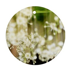 Little White Flowers Round Ornament (two Sides)  by timelessartoncanvas