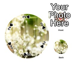 Little White Flowers Playing Cards 54 (round)  by timelessartoncanvas