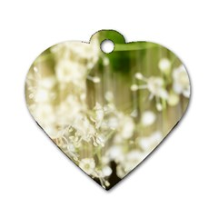 Little White Flowers Dog Tag Heart (one Side) by timelessartoncanvas