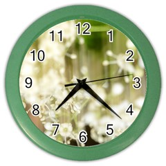 Little White Flowers Color Wall Clocks by timelessartoncanvas