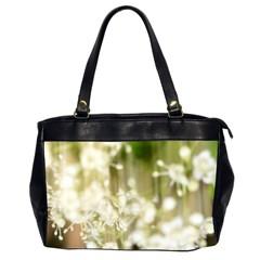 Little White Flowers Office Handbags (2 Sides)  by timelessartoncanvas