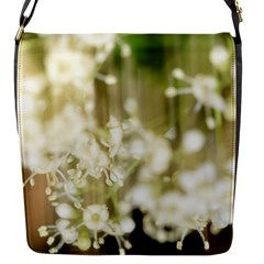 Little White Flowers Flap Messenger Bag (s) by timelessartoncanvas