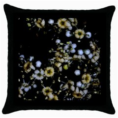Little White Flowers 2 Throw Pillow Case (black) by timelessartoncanvas