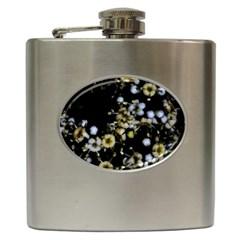 Little White Flowers 2 Hip Flask (6 Oz) by timelessartoncanvas